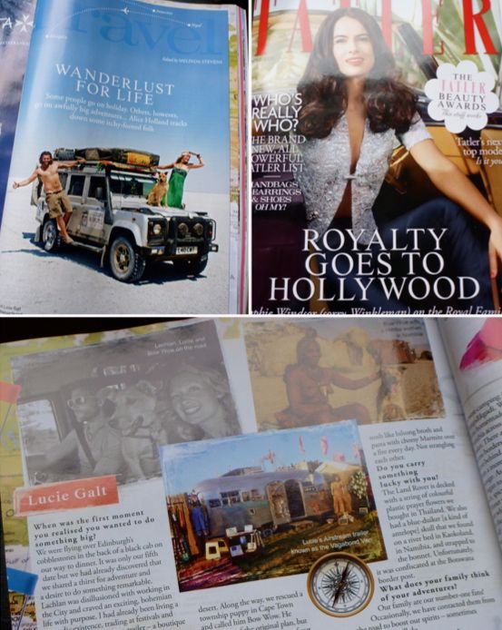Wanderlust for Life - The Vagabond Adventures appear in the April 2012 issue of Tatler magazine.