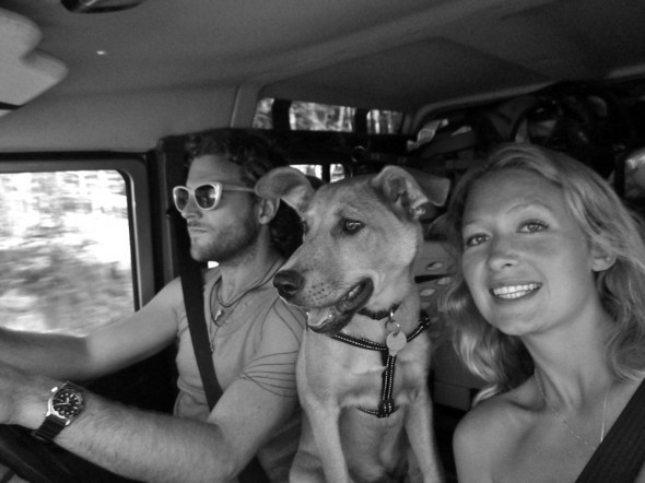 Lucie, Lachlan and Bow Wow of The Vagabond Adventures on their way to Beaverlac in Lula the Landy.