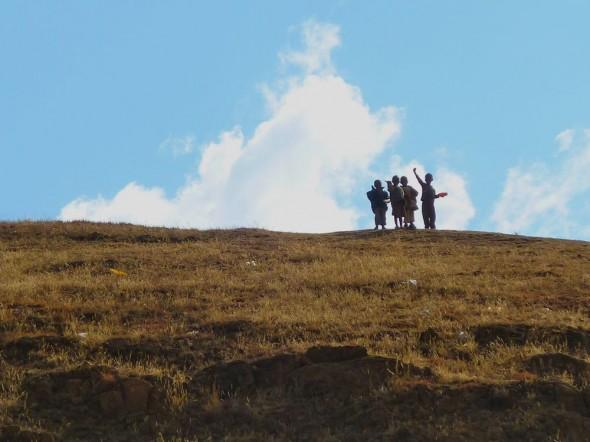 Waving childrens' innocent hope, Lesotho.