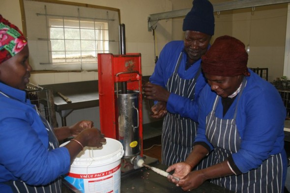 Making biltong at the Lake's farm.