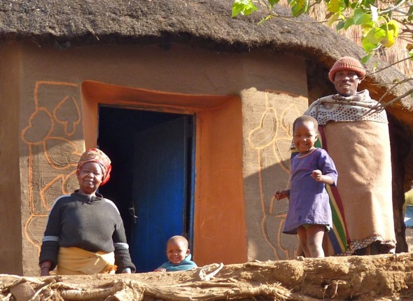 Rural Lesotho family.