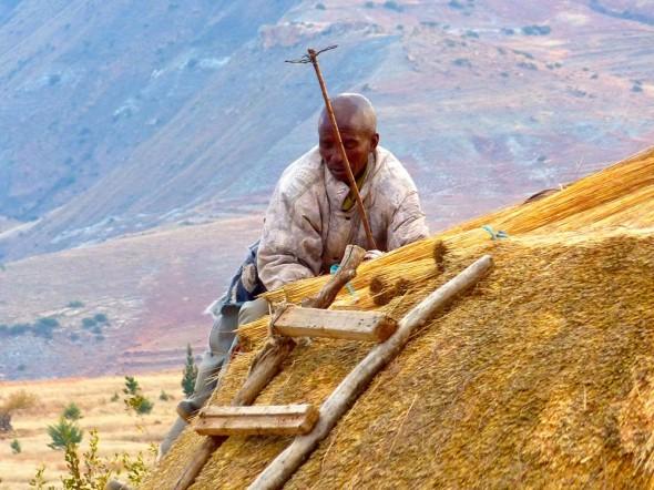 Roof maintenance, Lesotho.