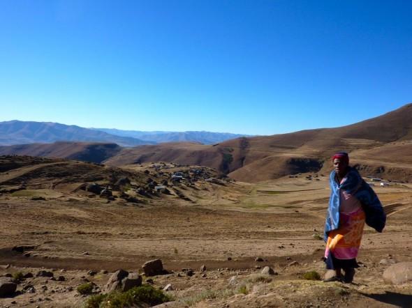 Dash of blanket colour on the challenging landscape, Lesotho.