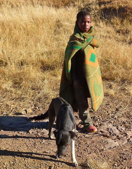 Boy and dog by the road, Lesotho.