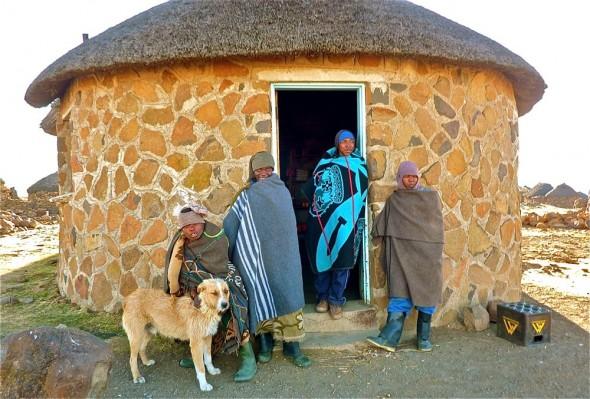 Boys in bright tribal blankets, Lesotho.
