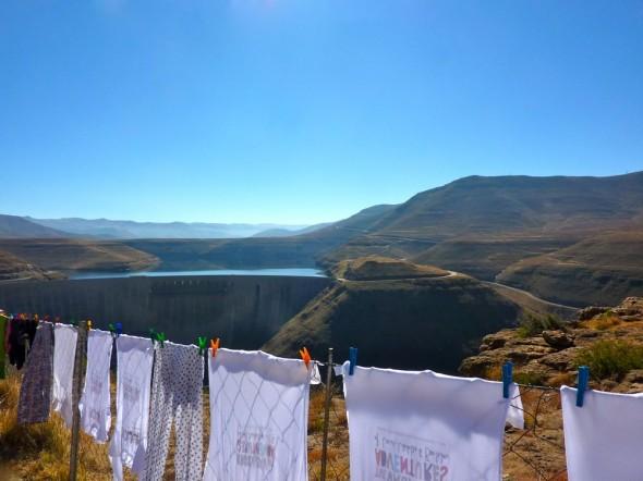 The Vagabond Adventures washing line, Katse Dam, Lesotho.