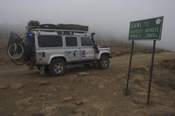 Lula gets nervous before the Sani Pass, Lesotho.