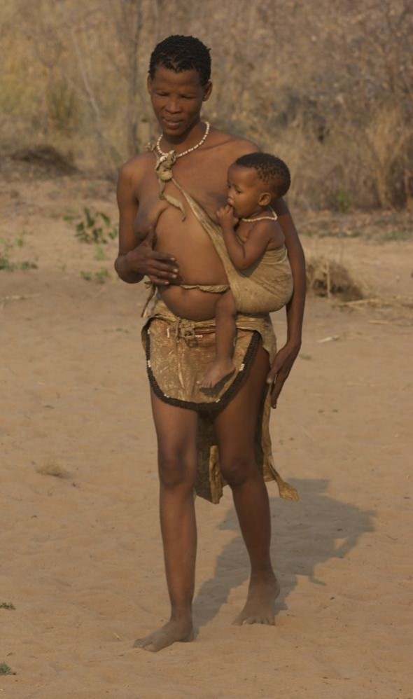 Baby suckling mother. Ju/'hanse San people, or as they are more commonly known, the Bushmen, near Tsumkwe, eastern Namibia.