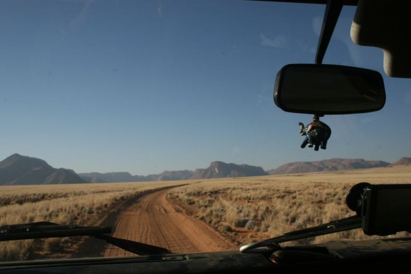 Driving in Lula towards the Tiras Mountains, Namibia.