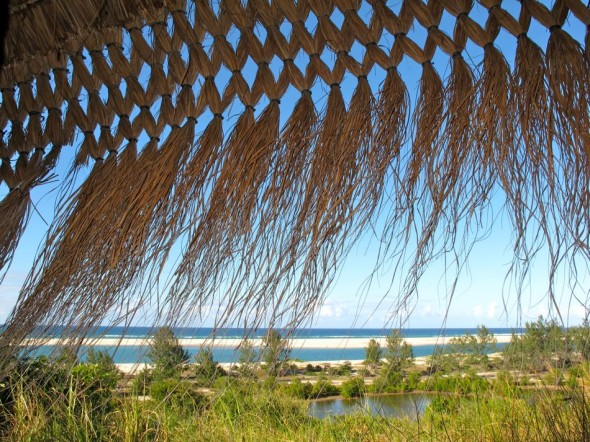 Fringe benefits that help to keep out mosquitos. (Picture taken by Captain Pat.) Pomene, Mozambique.