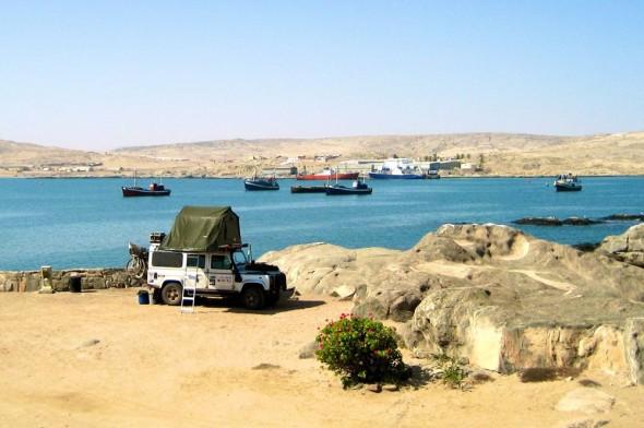 Camping at Shark island, Lüderitz, Namibia.