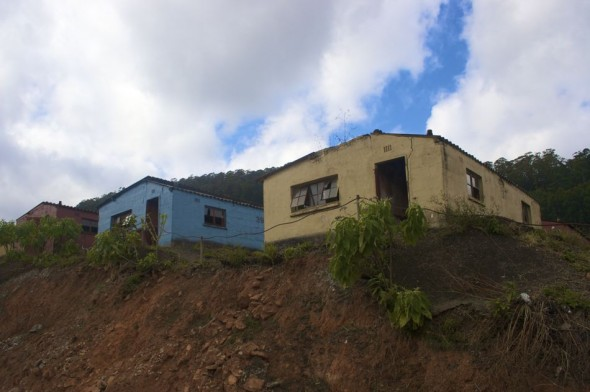 When asbestos products were discovered to be carcinogenic, the mine closed and those still well enough abandoned the town in search of work elsewhere. Bulembu, Swaziland.