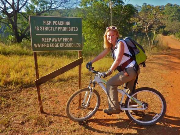 Watch out for the crocodiles, Lucie! Mlilwane Wildlife Sanctuary, Swaziland.