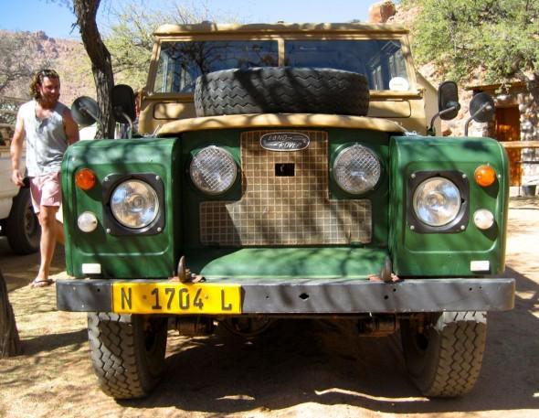 Old antique series Land Rover at Namtib farm, Namibia.