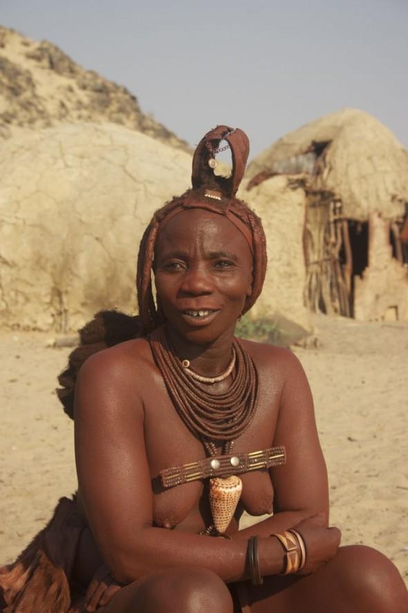 Himba woman, Purros Himba tribe village, Namibia.