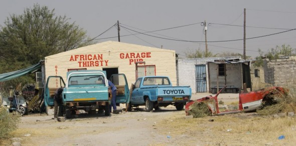 African Thirsty Garage Pub. Bar / Shebeen on the C46 Highway between Ruacana and Oshakati, Namibia.