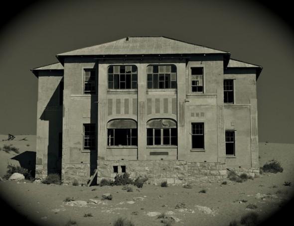 Abandoned house in Kolmanskop diamond mining ghost town, Namibia.