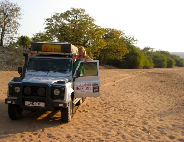 Lula the Landy on a dry river bed near Purros, Kaokoland, Namibia.
