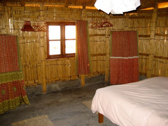 Pat's chic shack is solar powered. Pomene, Mozambique.