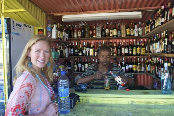 Every hour is happy hour in Tofo. Praia do Tofo market bar, Mozambique.