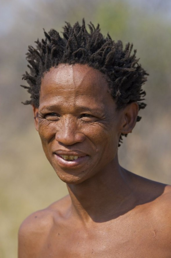 Our bushman guide. Ju/'hanse San people, or as they are more commonly known, the Bushmen, near Tsumkwe, eastern Namibia.