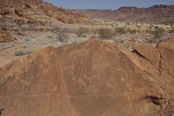 Bushmen rock engravings at Twyfelfontein, Damaraland, Namibia.