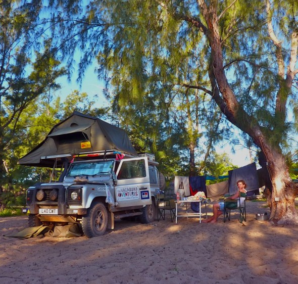 Our comfortable camp at Fatima's Nest. Praia do Tofo, Mozambique.