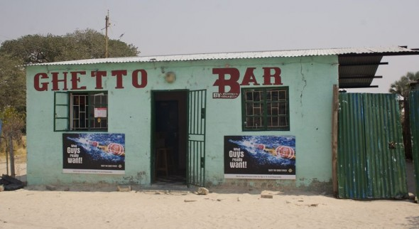 Ghetto Bar. Bar / Shebeen on the C46 Highway between Ruacana and Oshakati, Namibia.