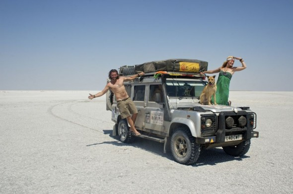 Lucie, Lachlan & Bow Wow from The Vagabond Adventures hanging on to Lula the Landy at The Makgadikgadi Pan, Botswana.