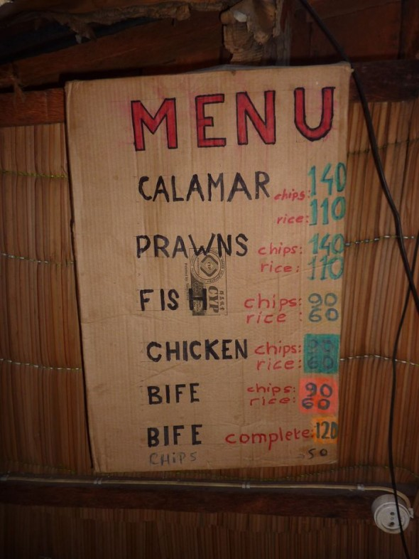 "As Gordon Ramsay says ""Keep it simple."" Black and White Restaurant, Praia do Tofo, Mozambique."