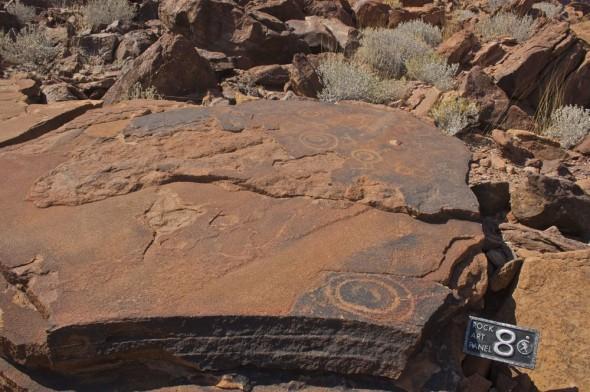 Abstract geometric patterns - Bushmen rock engravings at Twyfelfontein, Damaraland, Namibia.