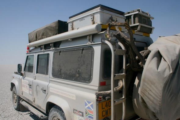 Lula the Landy in The Makgadikgadi Pan, Botswana.