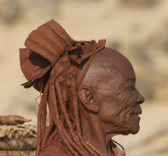 Himba elder / grandmother at Purros Himba tribe village, Namibia.