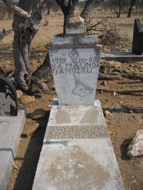 Himba grave stone at burial site. Kaokoland, Namibia.
