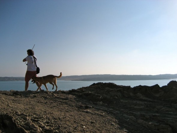 Bow Wow and Lachlan walking. Lüderitz, Namibia.