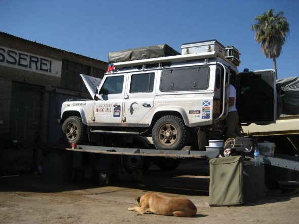 Lula the Landy being serviced at Plietz Motors in Lüderitz, Namibia.