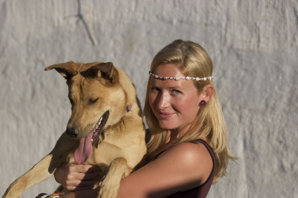 Lucie holding Bow Wow with Vagabond Van headband from Tofo, Mozambique. Windhoek, Namibia.