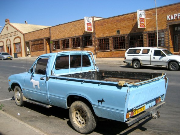 Blue ute with donkey stickers, Lüderitz, Namibia.