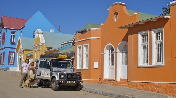 The Vagabond Adventures and Lula the Landy setup a colourful shot in Lüderitz, Namibia.