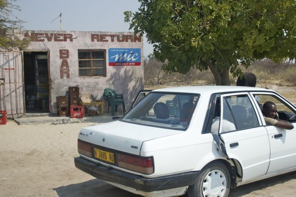 Never Return Bar. Bar / Shebeen on the C46 Highway between Ruacana and Oshakati, Namibia.