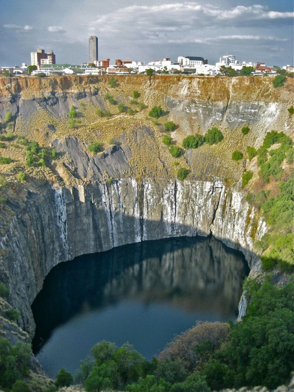 The Big Hole filled with water. Kimberley, South Africa.