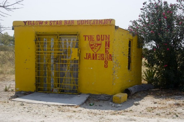 Yellow Star Bar Come & Enjoy The Gunners Arsenal. Bar / Shebeen on the C46 Highway between Ruacana and Oshakati, Namibia.