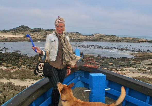 Lucie and Bow Wow on old boat style accomodation at Dias Point, Lüderitz, Namibia.