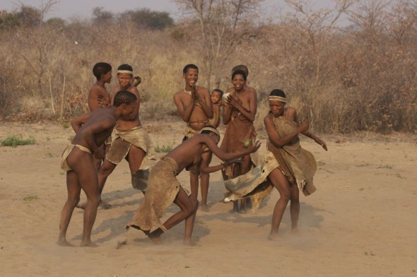 Women dancing. Ju/'hanse San people, or as they are more commonly known, the Bushmen, near Tsumkwe, eastern Namibia.
