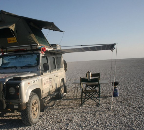The Vagabond Adventure's camp setup at The Makgadikgadi Pan, Botswana.