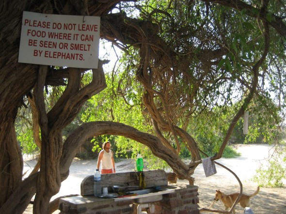 "The sign at our camp site kitchen reads: ""Please do not leave food where it can be seen or smelt by elephants"", Purros, Namibia."