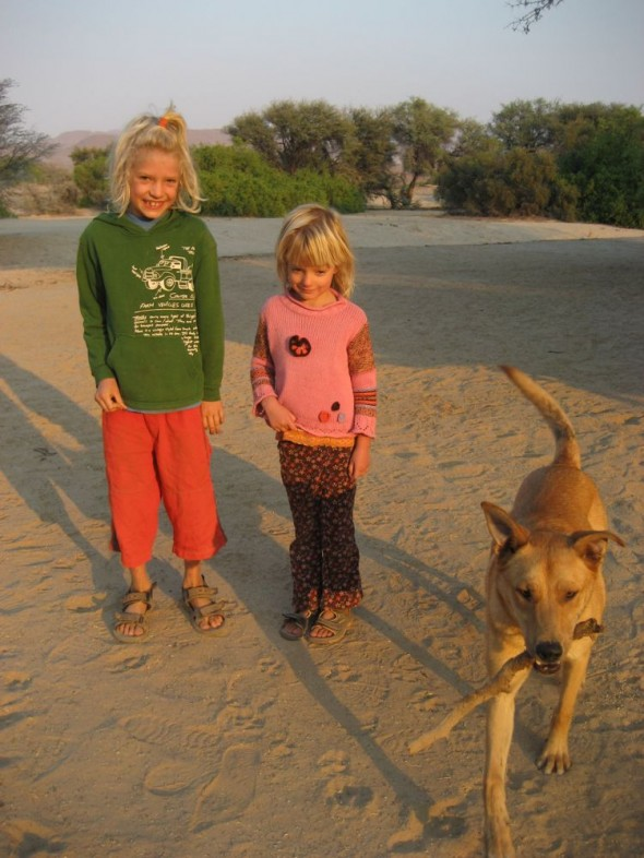 Galen, Tiva and Bow Wow at Purros camp site, Namibia.