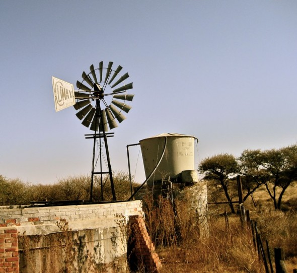 Climax windmill on the farm. Kimberley, South Africa.