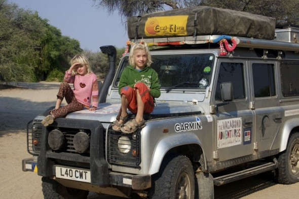 Galen & Tiva on Lula the Landy at Purros camp site, Namibia.