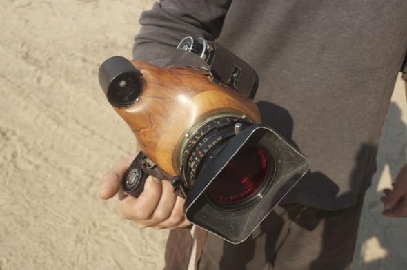 Glen Green's hand made wooden camera, Purros camp site, Namibia.